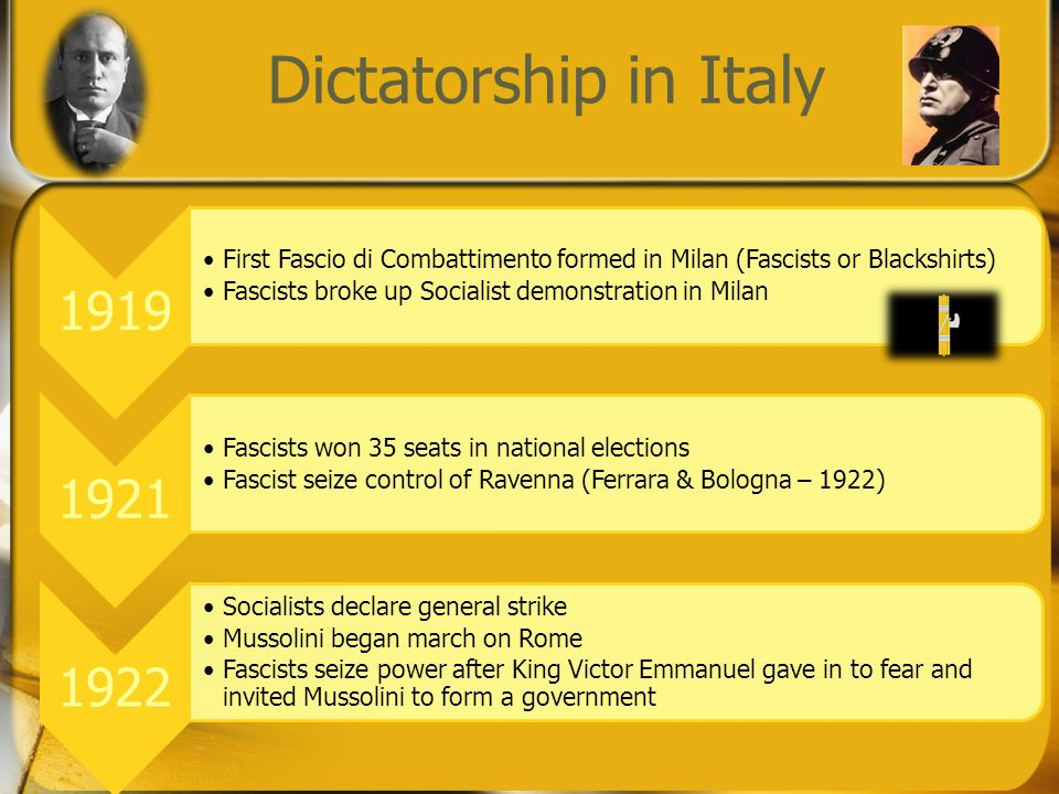 Dictatorship in Italy 1919 First Fascio di Combattimento formed in Milan (Fascists or Blackshirts) Fascists broke up Socialist demonstration in Milan 1921 Fascists won 35 seats in national elections Fascist seize control of Ravenna (Ferrara & Bologna – 1922) 1922 Socialists declare general strike Mussolini began march on Rome Fascists seize power after King Victor Emmanuel gave in to fear and invited Mussolini to form a government