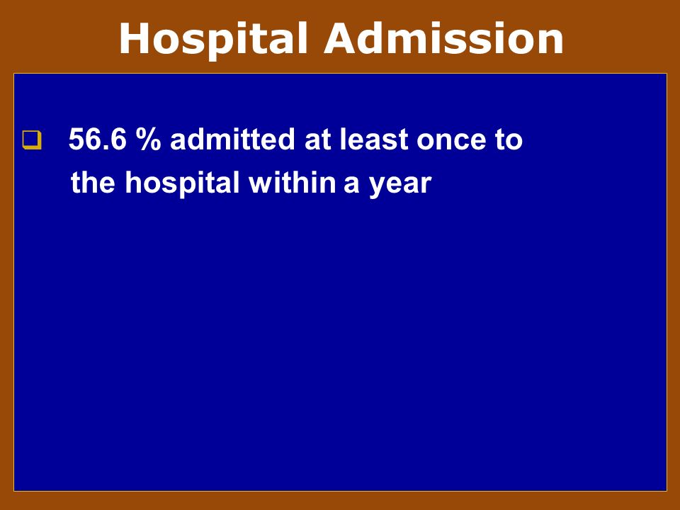 56.6 % admitted at least once to the hospital within a year Hospital Admission