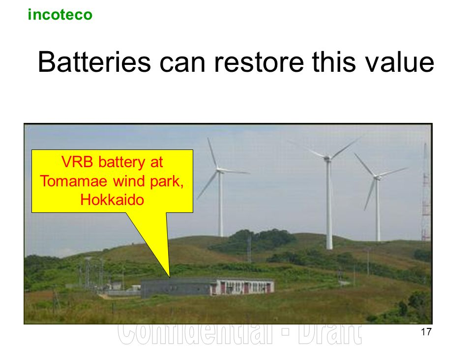 incoteco 17 Batteries can restore this value VRB battery at Tomamae wind park, Hokkaido