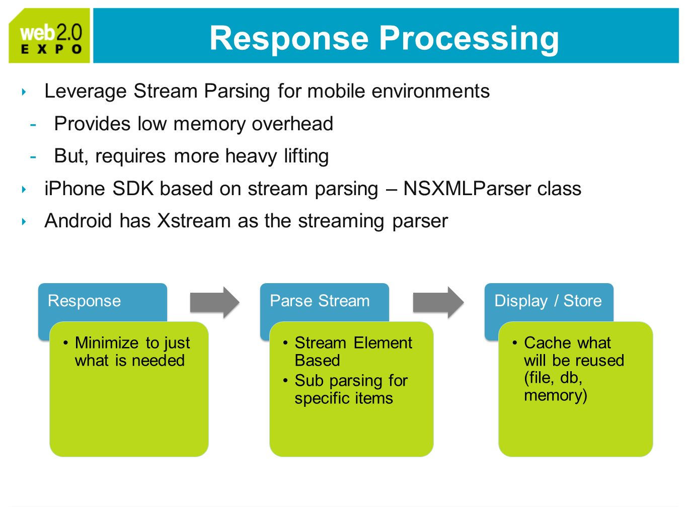 Response Processing Leverage Stream Parsing for mobile environments -Provides low memory overhead -But, requires more heavy lifting iPhone SDK based on stream parsing – NSXMLParser class Android has Xstream as the streaming parser Response Minimize to just what is needed Parse Stream Stream Element Based Sub parsing for specific items Display / Store Cache what will be reused (file, db, memory)