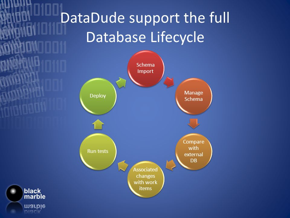 DataDude support the full Database Lifecycle Schema Import Manage Schema Compare with external DB Associated changes with work items Run testsDeploy