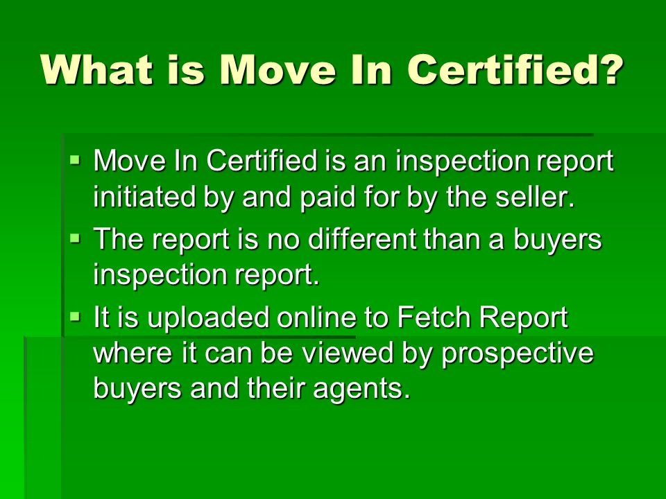 What is Move In Certified.