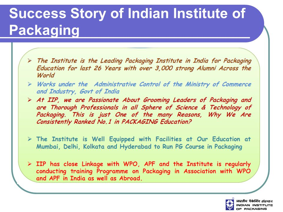 Success Story of Indian Institute of Packaging