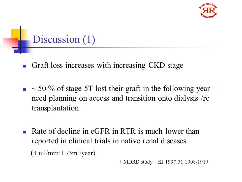 Discussion (1) Graft loss increases with increasing CKD stage ~ 50 % of stage 5T lost their graft in the following year – need planning on access and transition onto dialysis /re transplantation Rate of decline in eGFR in RTR is much lower than reported in clinical trials in native renal diseases ( 4 ml/min/1.73m 2 /year) MDRD study – KI 1997;51: