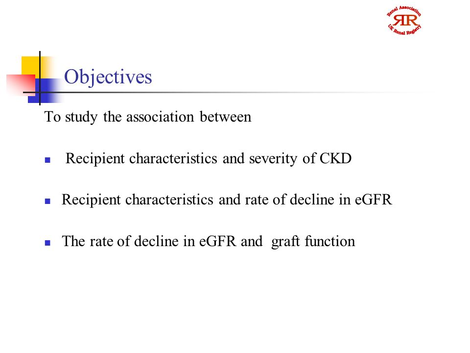Objectives To study the association between Recipient characteristics and severity of CKD Recipient characteristics and rate of decline in eGFR The rate of decline in eGFR and graft function