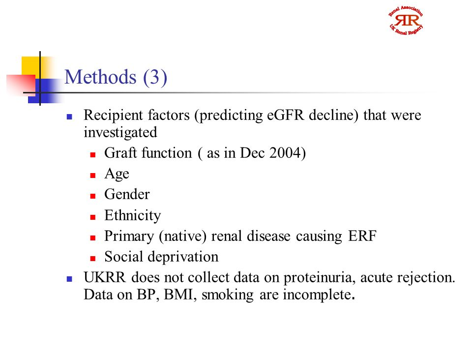 Methods (3) Recipient factors (predicting eGFR decline) that were investigated Graft function ( as in Dec 2004) Age Gender Ethnicity Primary (native) renal disease causing ERF Social deprivation UKRR does not collect data on proteinuria, acute rejection.