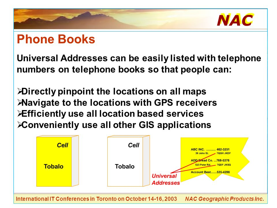 Phone Books Universal Addresses can be easily listed with telephone numbers on telephone books so that people can: Directly pinpoint the locations on all maps Navigate to the locations with GPS receivers Efficiently use all location based services Conveniently use all other GIS applications