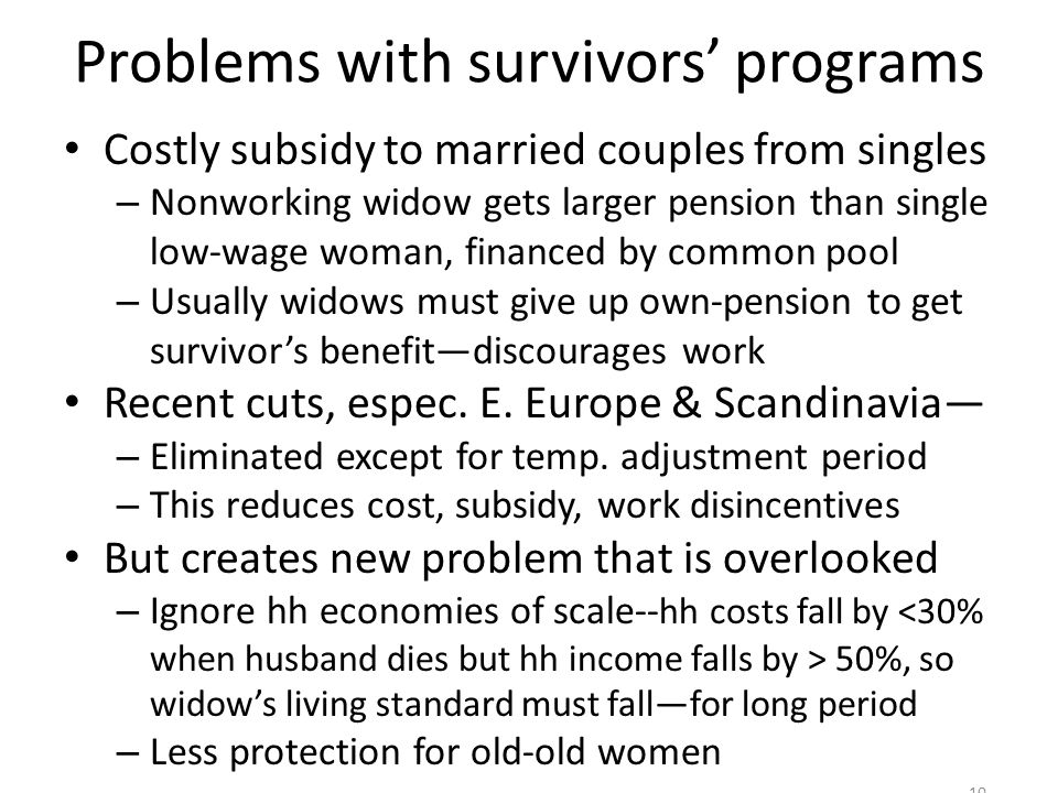 Problems with survivors programs Costly subsidy to married couples from singles – Nonworking widow gets larger pension than single low-wage woman, financed by common pool – Usually widows must give up own-pension to get survivors benefitdiscourages work Recent cuts, espec.