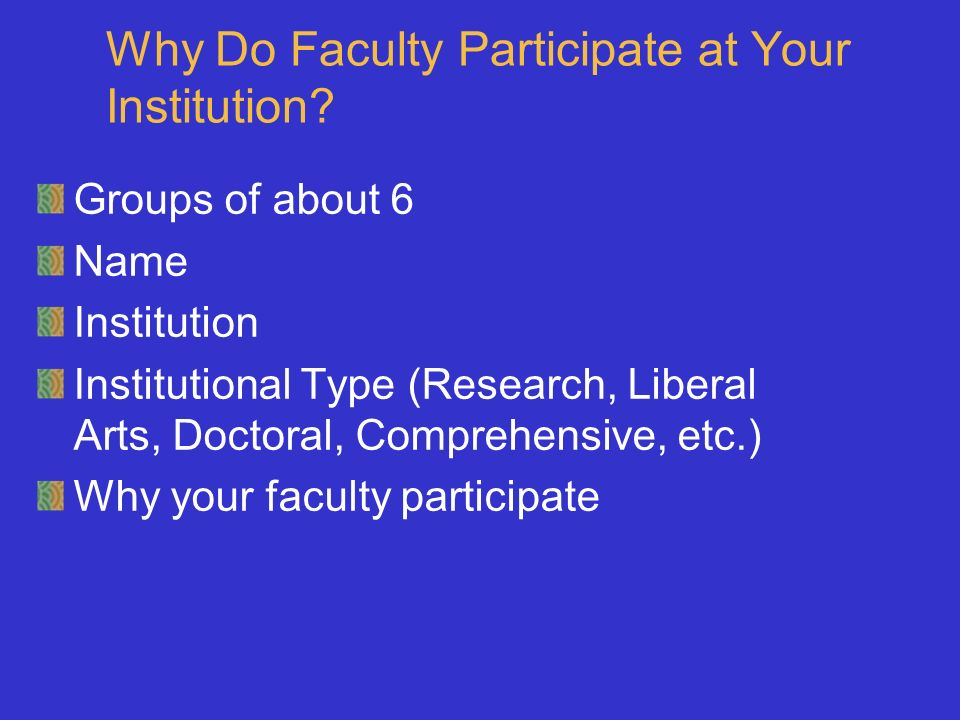 Why Do Faculty Participate at Your Institution.
