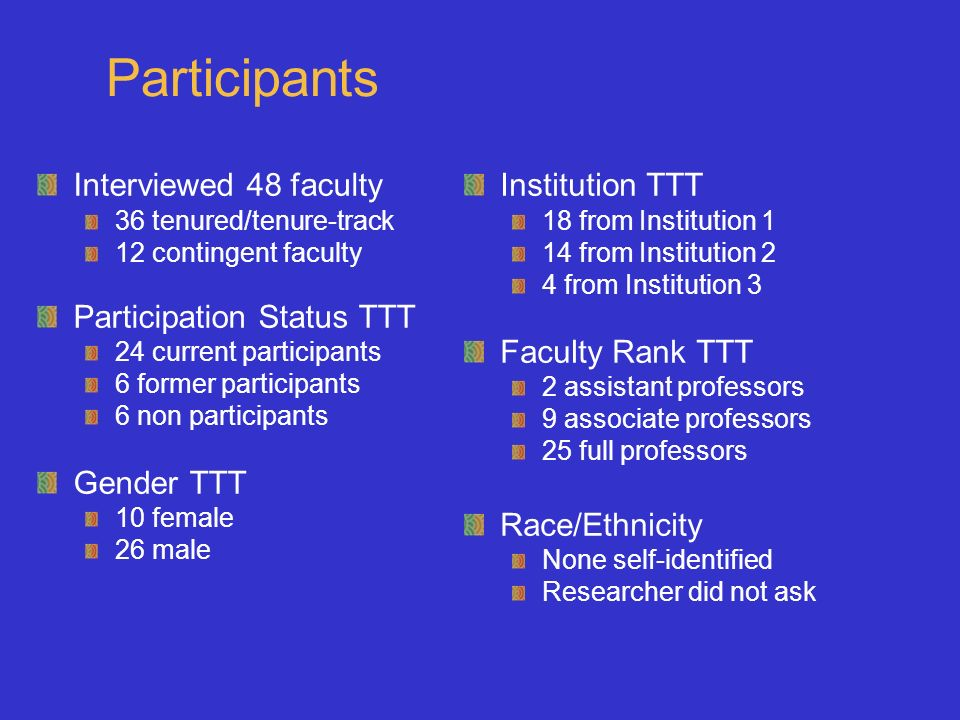 Participants Interviewed 48 faculty 36 tenured/tenure-track 12 contingent faculty Participation Status TTT 24 current participants 6 former participants 6 non participants Gender TTT 10 female 26 male Institution TTT 18 from Institution 1 14 from Institution 2 4 from Institution 3 Faculty Rank TTT 2 assistant professors 9 associate professors 25 full professors Race/Ethnicity None self-identified Researcher did not ask
