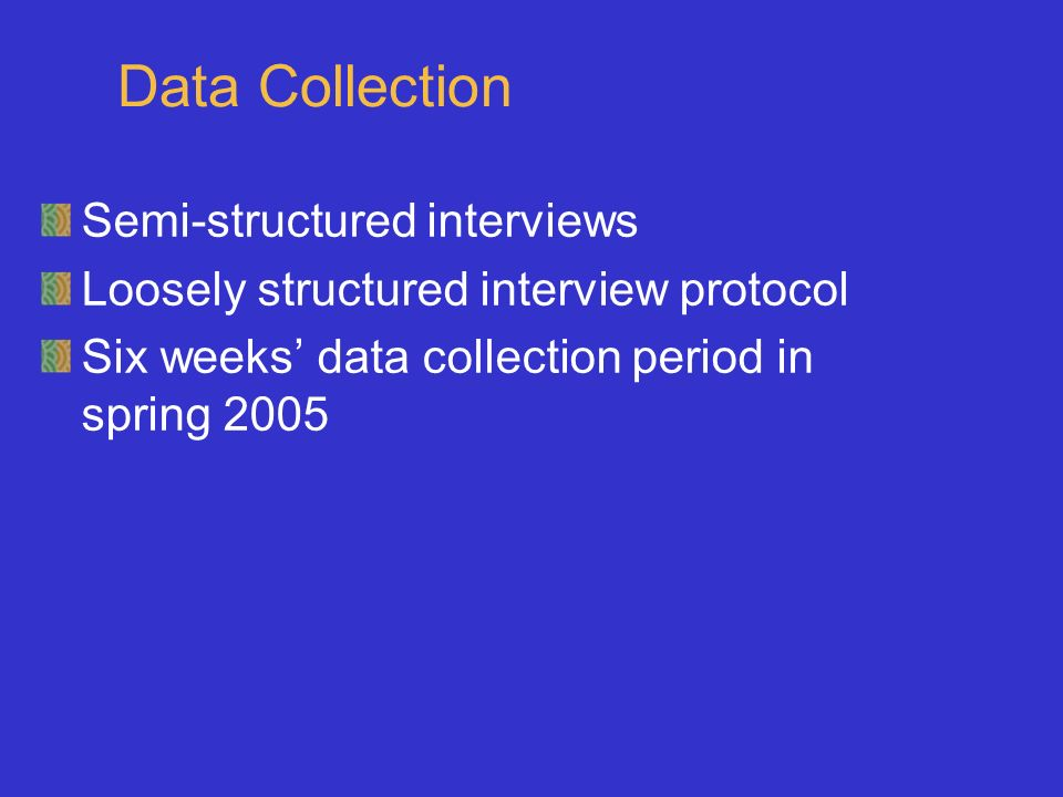Data Collection Semi-structured interviews Loosely structured interview protocol Six weeks data collection period in spring 2005