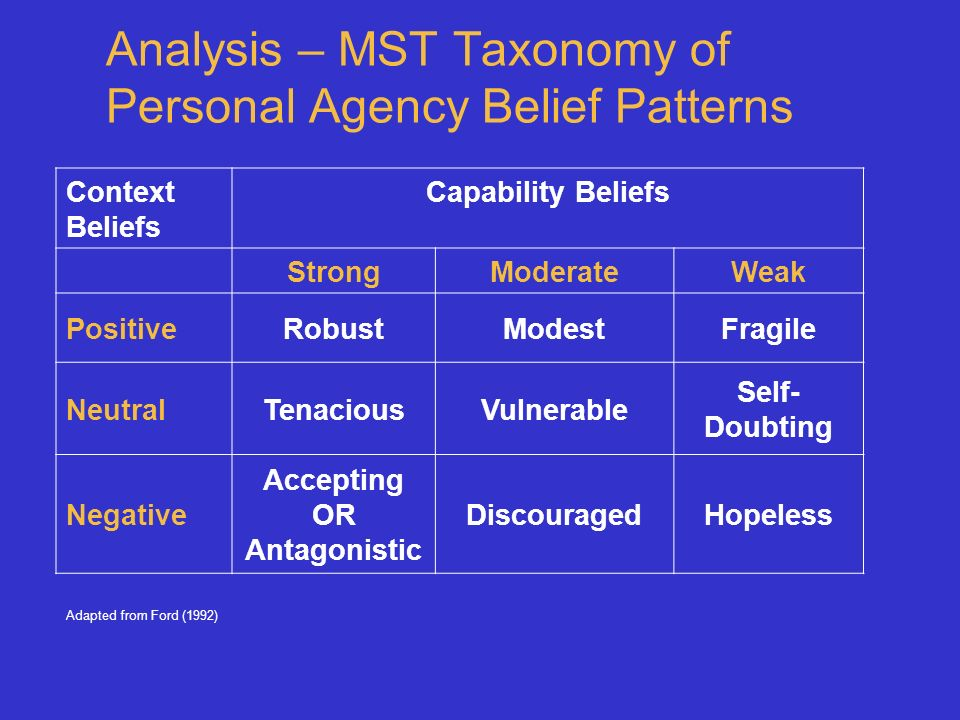 Analysis – MST Taxonomy of Personal Agency Belief Patterns Context Beliefs Capability Beliefs StrongModerateWeak PositiveRobustModestFragile NeutralTenaciousVulnerable Self- Doubting Negative Accepting OR Antagonistic DiscouragedHopeless Adapted from Ford (1992)