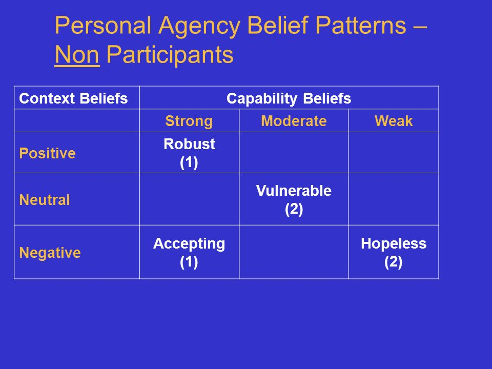 Personal Agency Belief Patterns – Non Participants Context BeliefsCapability Beliefs StrongModerateWeak Positive Robust (1) Neutral Vulnerable (2) Negative Accepting (1) Hopeless (2)