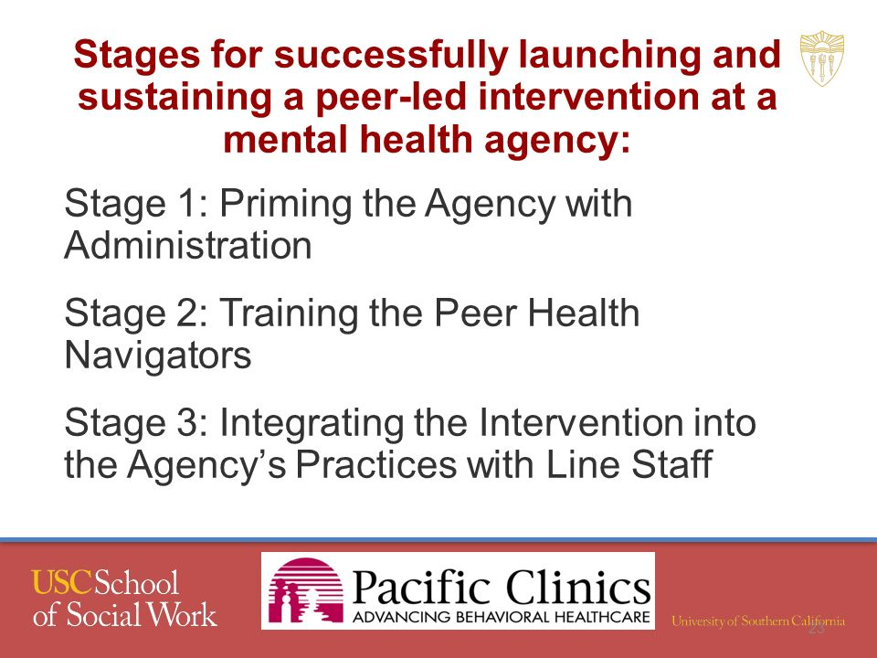 Stages for successfully launching and sustaining a peer-led intervention at a mental health agency: Stage 1: Priming the Agency with Administration Stage 2: Training the Peer Health Navigators Stage 3: Integrating the Intervention into the Agencys Practices with Line Staff 23