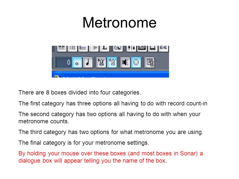 Metronome There are 8 boxes divided into four categories.