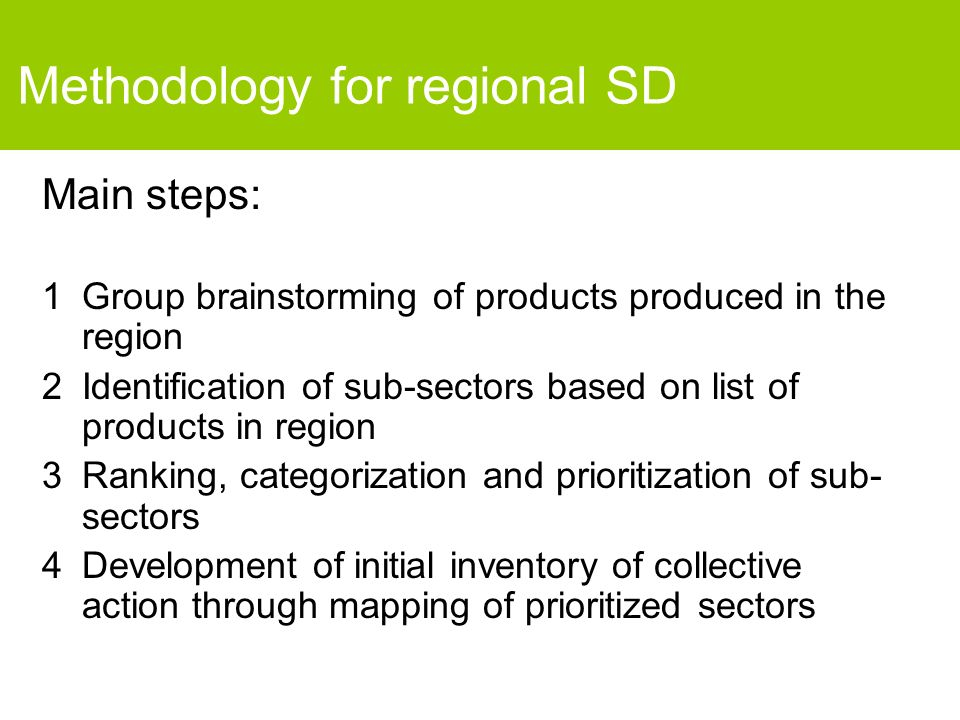 Methodology for regional SD Main steps: 1Group brainstorming of products produced in the region 2Identification of sub-sectors based on list of products in region 3Ranking, categorization and prioritization of sub- sectors 4Development of initial inventory of collective action through mapping of prioritized sectors