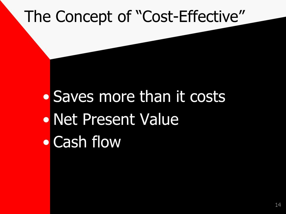 14 The Concept of Cost-Effective Saves more than it costs Net Present Value Cash flow