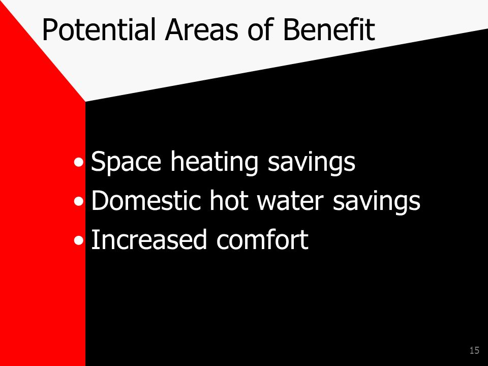 15 Potential Areas of Benefit Space heating savings Domestic hot water savings Increased comfort