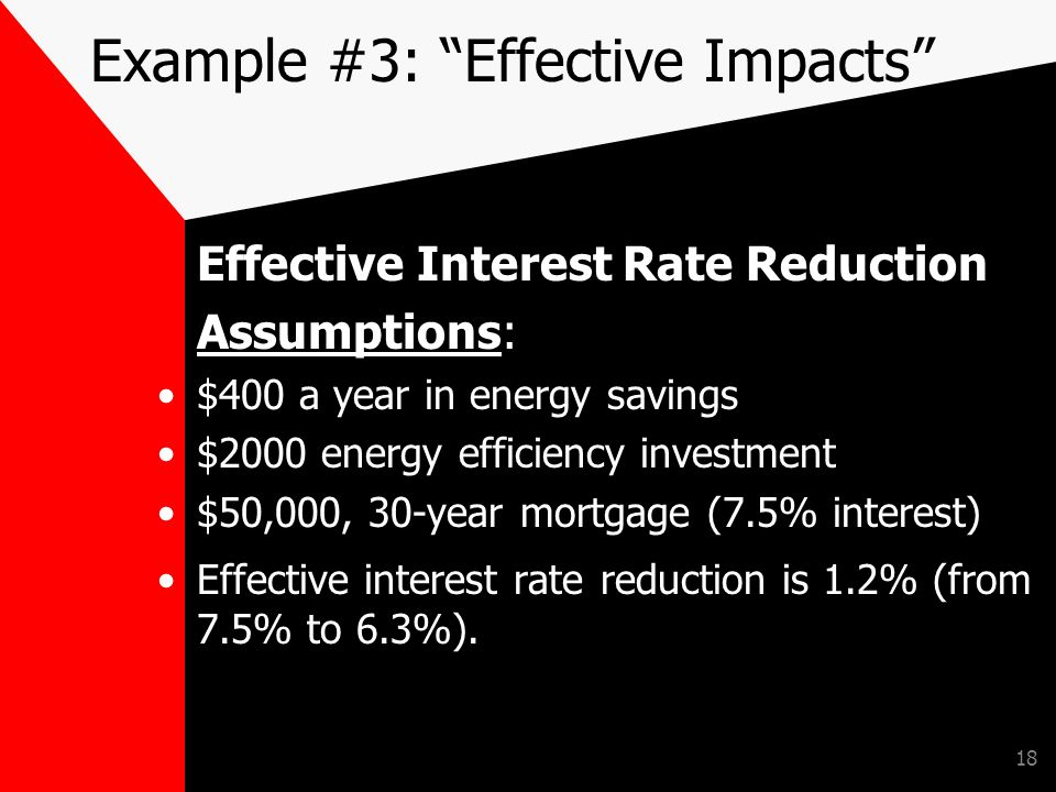 18 Example #3: Effective Impacts Effective Interest Rate Reduction Assumptions: $400 a year in energy savings $2000 energy efficiency investment $50,000, 30-year mortgage (7.5% interest) Effective interest rate reduction is 1.2% (from 7.5% to 6.3%).