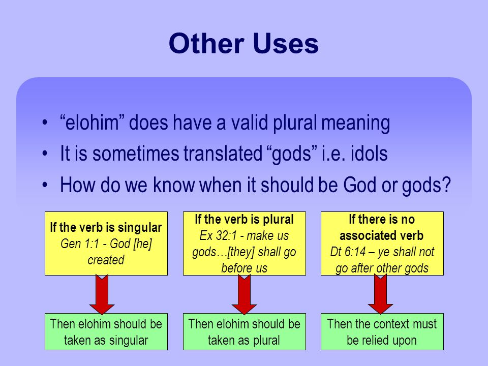 Other Uses elohim does have a valid plural meaning It is sometimes translated gods i.e.