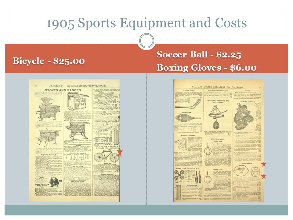 Bicycle - $25.00 Soccer Ball - $2.25 Boxing Gloves - $6.00 Soccer Ball - $2.25 Boxing Gloves - $ Sports Equipment and Costs