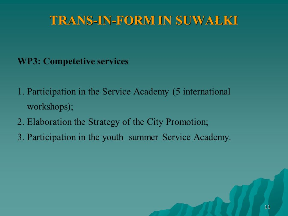 11 TRANS-IN-FORM IN SUWAŁKI WP3: Competetive services 1.