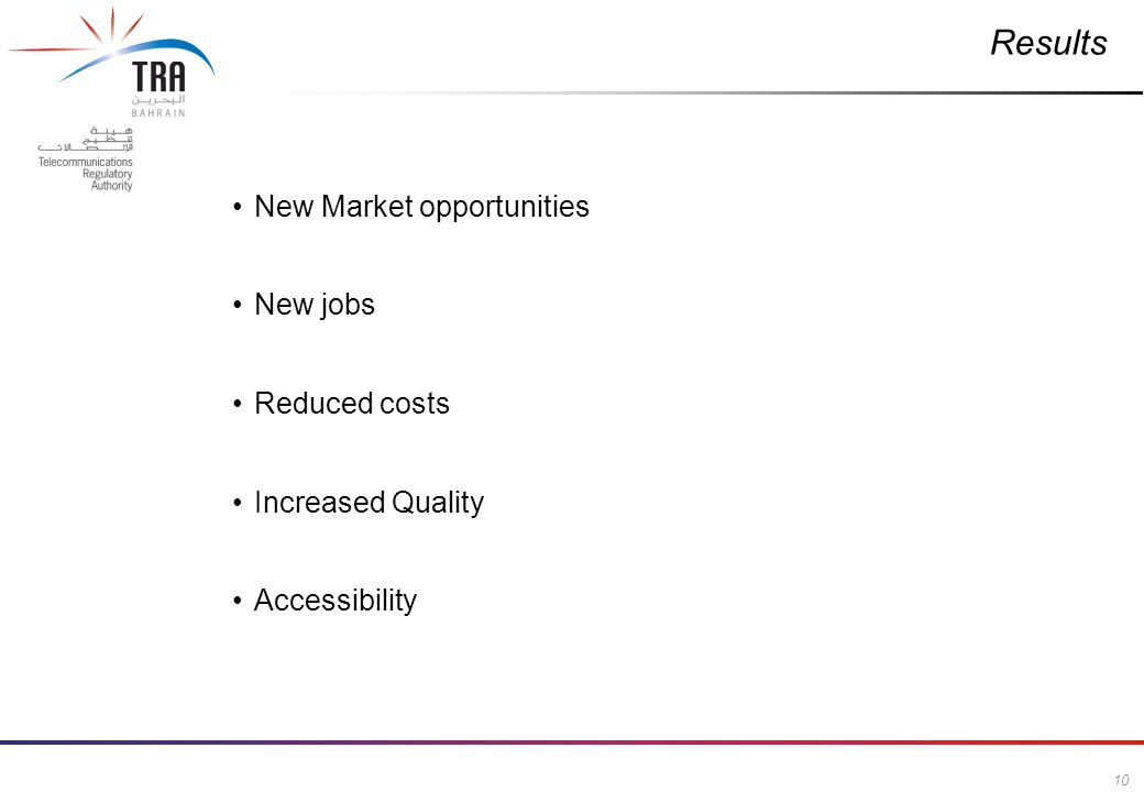 10 Commercial in Confidence Results New Market opportunities New jobs Reduced costs Increased Quality Accessibility