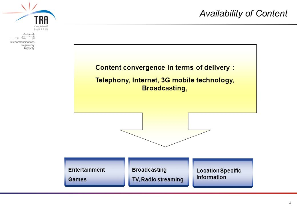 4 Commercial in Confidence Availability of Content Entertainment Games Broadcasting TV, Radio streaming Location Specific Information Content convergence in terms of delivery : Telephony, Internet, 3G mobile technology, Broadcasting,
