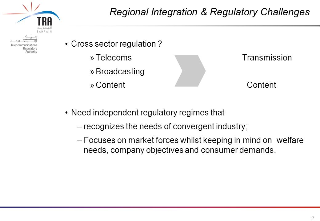 9 Commercial in Confidence Cross sector regulation .