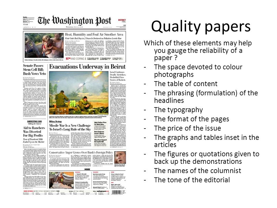 Quality papers Which of these elements may help you gauge the reliability of a paper .