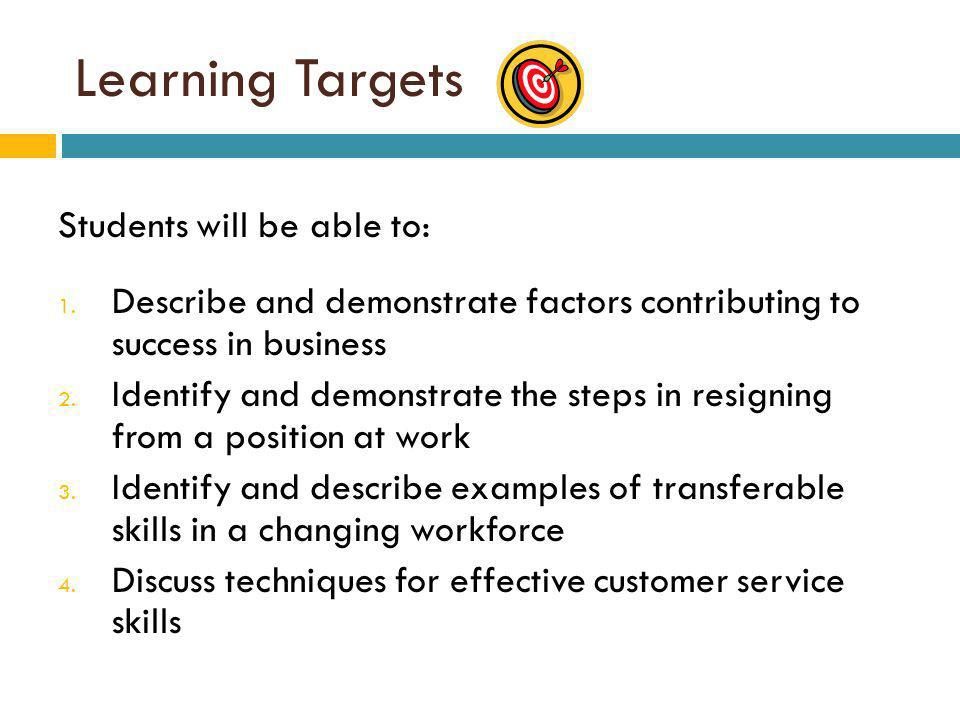 Learning Targets Students will be able to: 1.