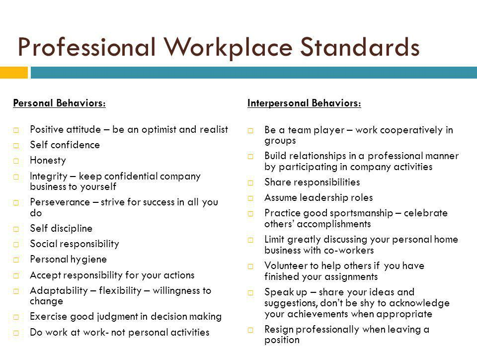 Professional Workplace Standards Personal Behaviors: Positive attitude – be an optimist and realist Self confidence Honesty Integrity – keep confidential company business to yourself Perseverance – strive for success in all you do Self discipline Social responsibility Personal hygiene Accept responsibility for your actions Adaptability – flexibility – willingness to change Exercise good judgment in decision making Do work at work- not personal activities Interpersonal Behaviors: Be a team player – work cooperatively in groups Build relationships in a professional manner by participating in company activities Share responsibilities Assume leadership roles Practice good sportsmanship – celebrate others accomplishments Limit greatly discussing your personal home business with co-workers Volunteer to help others if you have finished your assignments Speak up – share your ideas and suggestions, dont be shy to acknowledge your achievements when appropriate Resign professionally when leaving a position