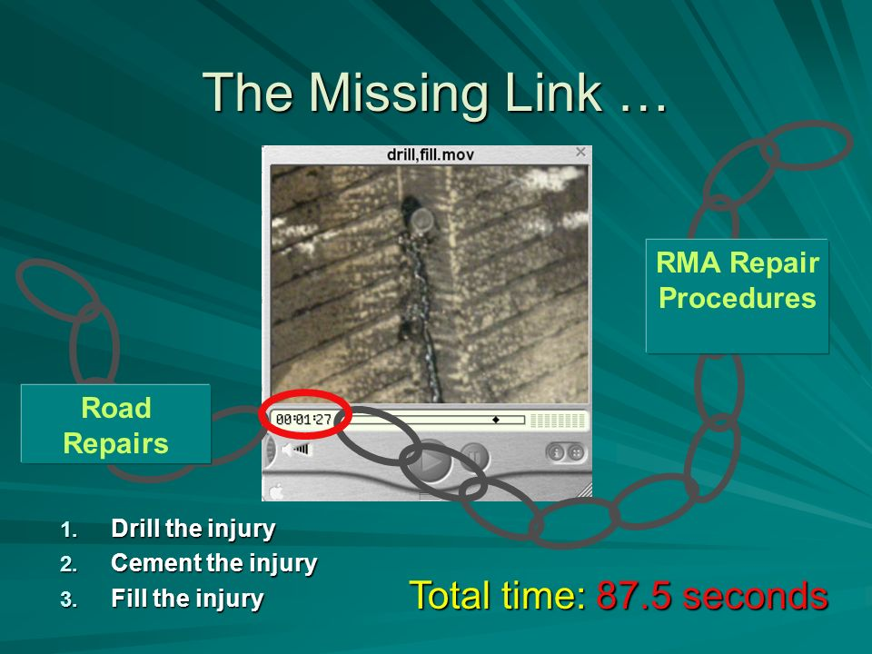 The Missing Link … RMA Repair Procedures 1. Drill the injury 2.