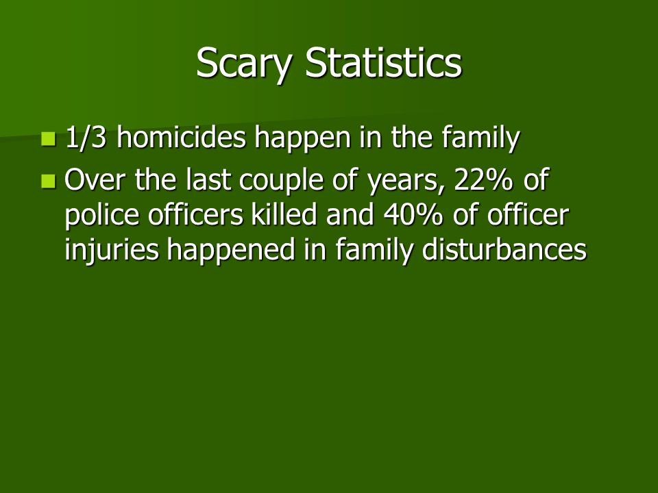 Scary Statistics 1/3 homicides happen in the family 1/3 homicides happen in the family Over the last couple of years, 22% of police officers killed and 40% of officer injuries happened in family disturbances Over the last couple of years, 22% of police officers killed and 40% of officer injuries happened in family disturbances