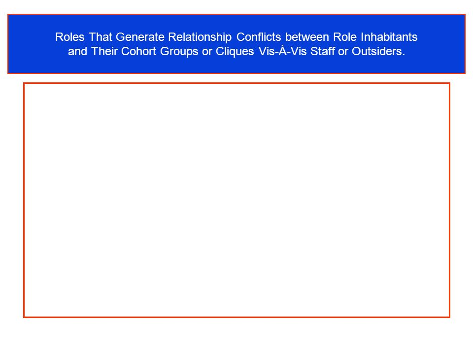 Roles That Generate Relationship Conflicts between Role Inhabitants and Their Cohort Groups or Cliques Vis-À-Vis Staff or Outsiders.