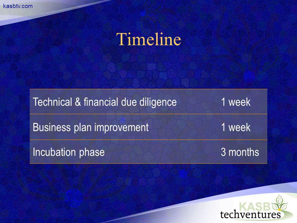 kasbtv.com Timeline Technical & financial due diligence1 week Business plan improvement1 week Incubation phase3 months