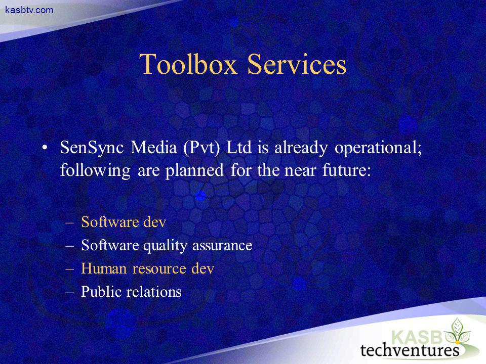 kasbtv.com Toolbox Services SenSync Media (Pvt) Ltd is already operational; following are planned for the near future: –Software dev –Software quality assurance –Human resource dev –Public relations
