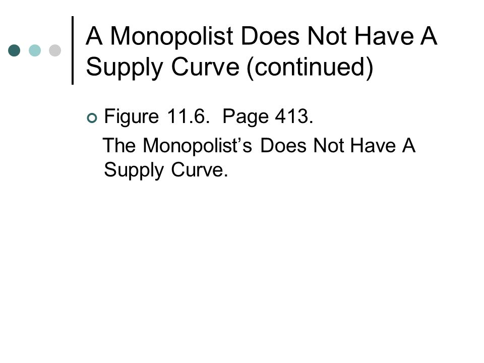 A Monopolist Does Not Have A Supply Curve (continued) Figure 11.6.