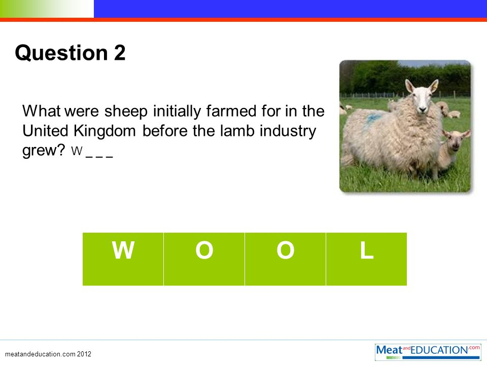 Question 2 What were sheep initially farmed for in the United Kingdom before the lamb industry grew.