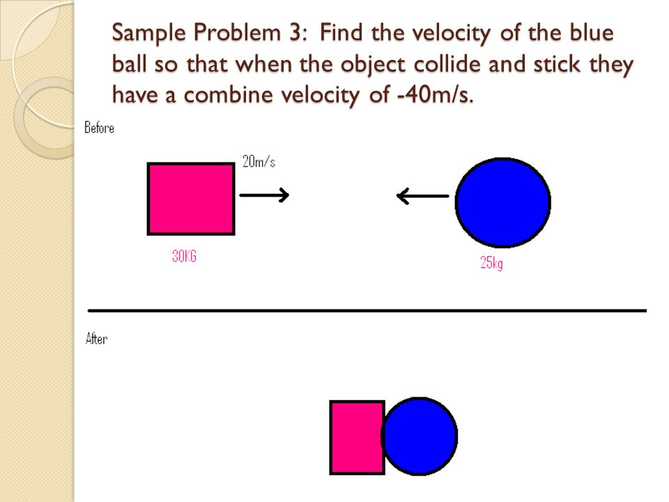 Sample Problem 3: Find the velocity of the blue ball so that when the object collide and stick they have a combine velocity of -40m/s.