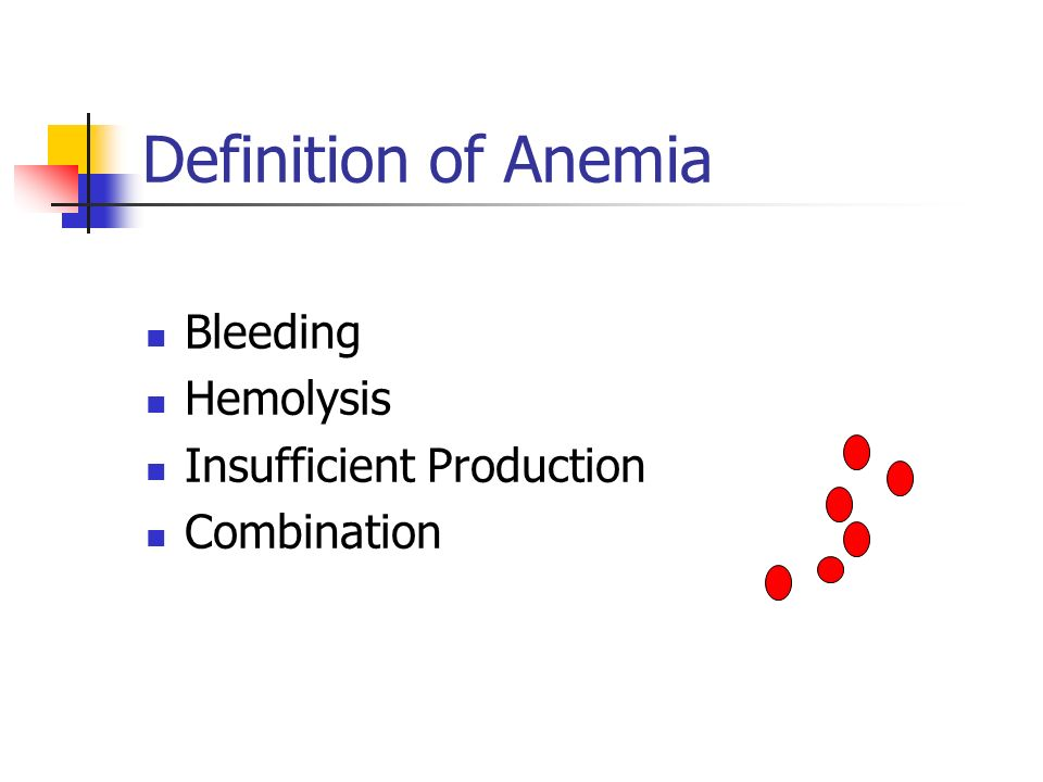 Definition of Anemia Bleeding Hemolysis Insufficient Production Combination