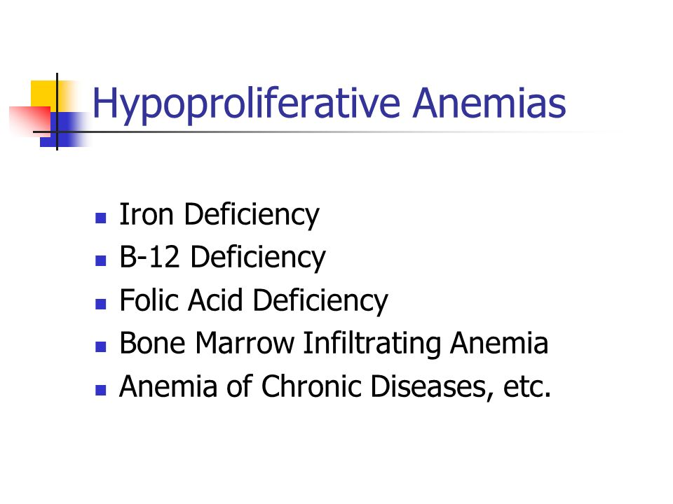 Hypoproliferative Anemias Iron Deficiency B-12 Deficiency Folic Acid Deficiency Bone Marrow Infiltrating Anemia Anemia of Chronic Diseases, etc.