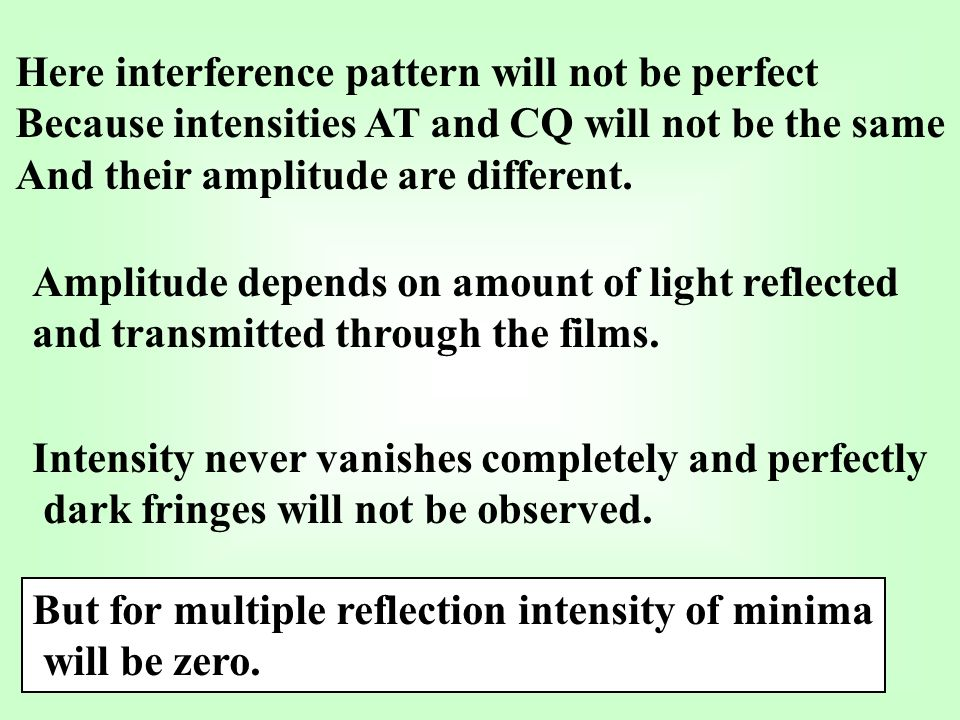 Here interference pattern will not be perfect Because intensities AT and CQ will not be the same And their amplitude are different.