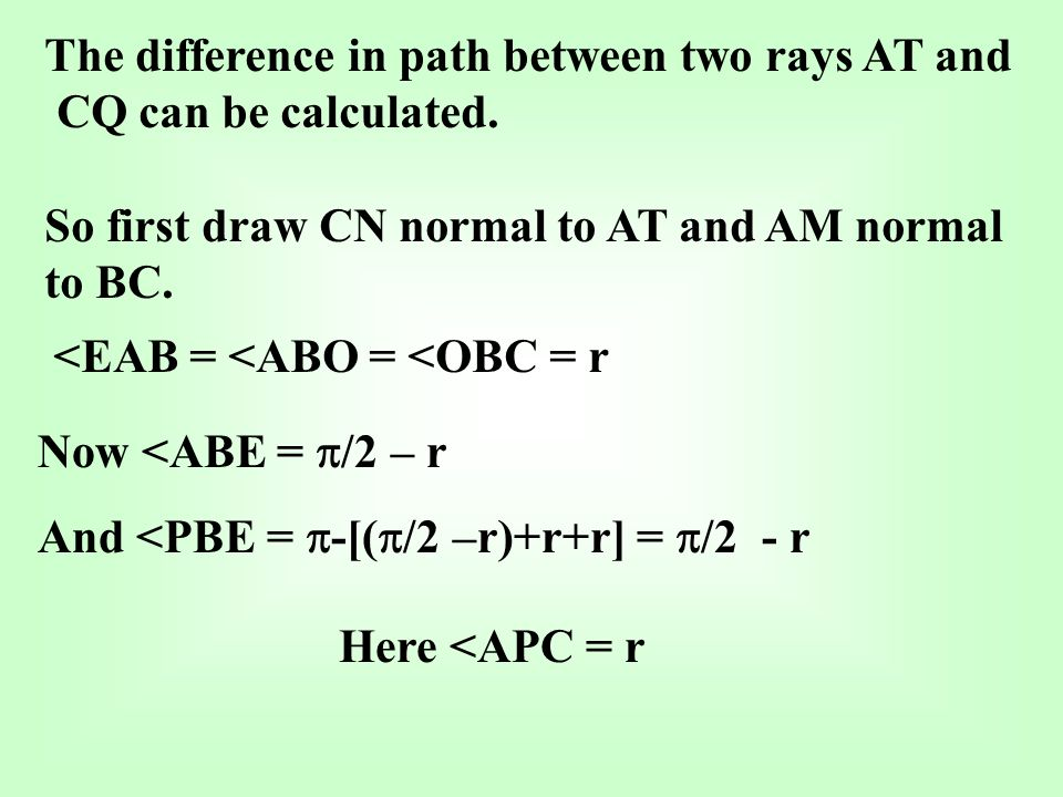 The difference in path between two rays AT and CQ can be calculated.