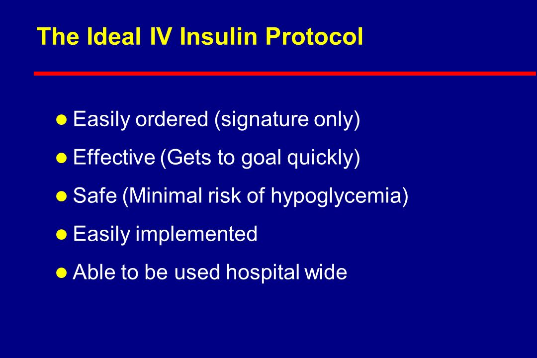 Threshold blood glucose in mg/dL for starting IV insulin infusion l Peri-operative care:> 140 l ICU care: > * l Non-surgical illness:> * * l Pregnancy> 100 * Van den Berghes study supports 110; Finneys study supports 145 * * If drip indication is failure of SQ therapy, use 180 ; if indication is specific condition ( DM 1/ NPO, MI, etc ), use 140