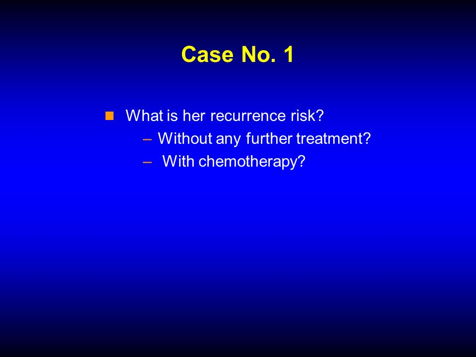Case No. 1 What is her recurrence risk –Without any further treatment – With chemotherapy