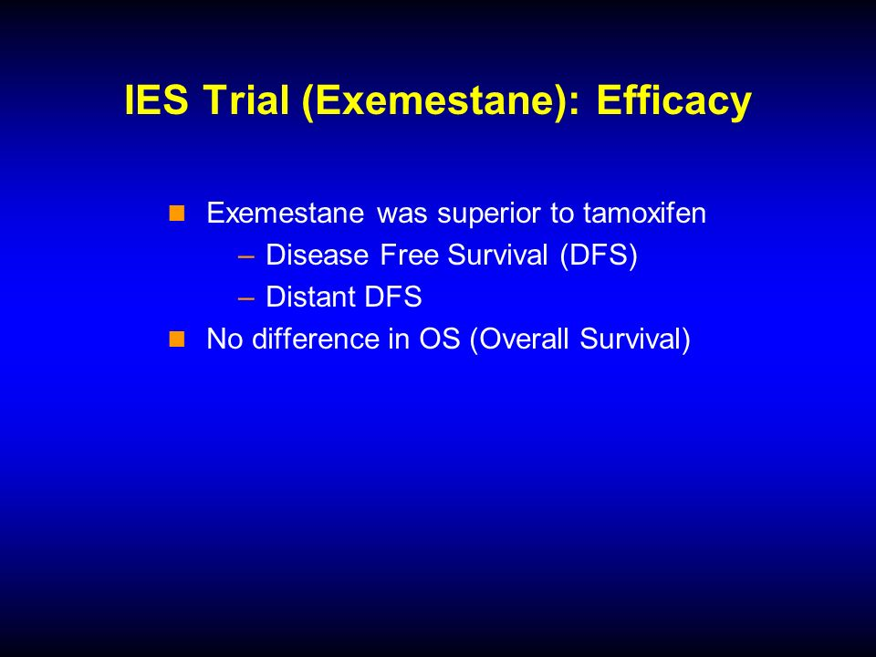 IES Trial (Exemestane): Efficacy Exemestane was superior to tamoxifen –Disease Free Survival (DFS) –Distant DFS No difference in OS (Overall Survival)