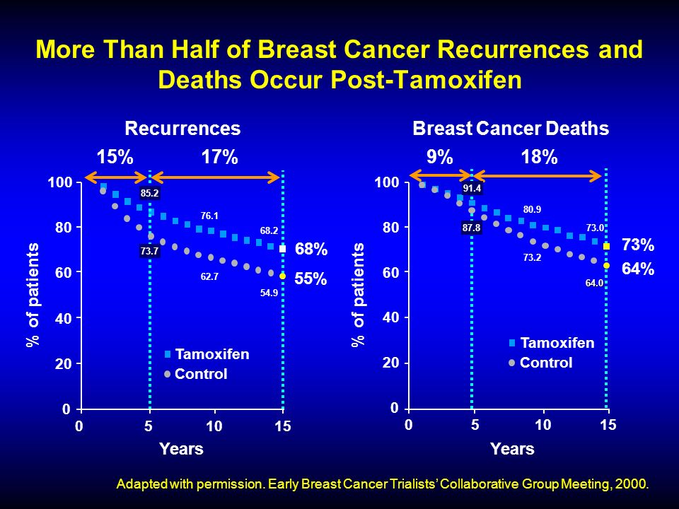 RecurrencesBreast Cancer Deaths More Than Half of Breast Cancer Recurrences and Deaths Occur Post-Tamoxifen Adapted with permission.