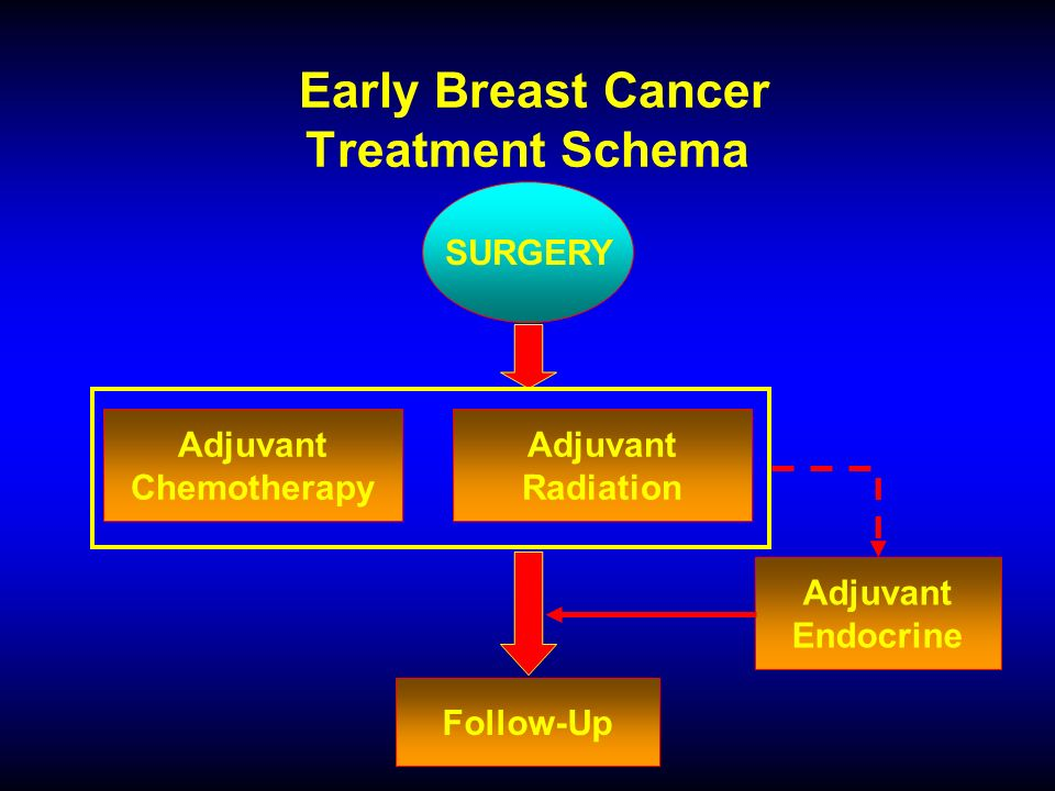 Early Breast Cancer Treatment Schema SURGERY Adjuvant Chemotherapy Adjuvant Radiation Adjuvant Endocrine Follow-Up