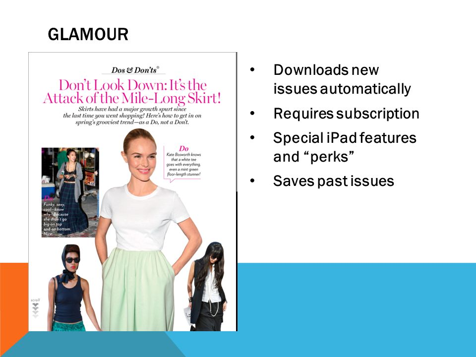 Downloads new issues automatically Requires subscription Special iPad features and perks Saves past issues GLAMOUR